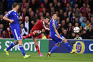 Gareth Bale of Wales shoots at goal but sees his shot saved by Asmir Begovic the Bosnia Herzegovina goalkeeper. <br /> Euro 2016 qualifying group B match, Wales v Bosnia- Herzegovina at the Cardiff city Stadium in Cardiff, South Wales on Friday 10th Oct 2014.<br /> pic by Andrew Orchard, Andrew Orchard sports photography.