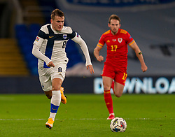 CARDIFF, WALES - Wednesday, November 18, 2020: Finland's Robin Lod during the UEFA Nations League Group Stage League B Group 4 match between Wales and Finland at the Cardiff City Stadium. Wales won 3-1 and finished top of Group 4, winning promotion to League A. (Pic by David Rawcliffe/Propaganda)