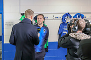 AFC Wimbledon Kitman Robin Bedford being interviewed for Football Focus during the The FA Cup 5th round match between AFC Wimbledon and Millwall at the Cherry Red Records Stadium, Kingston, England on 16 February 2019.