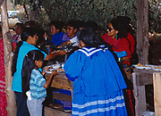 Lunch being served to guests at Carla Goseyun's White Mountain Apache Traditional Sunrise Ceremony, Whiteriver, Arizona.  Please Note: A small extra licensing fee needs to be paid to the Goseyun Family for usage of this photo. Contact Fred Hirschmann for more information. Thanks.