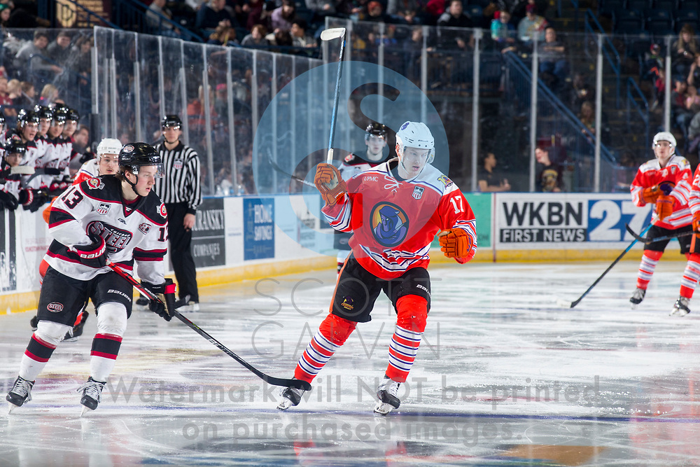 The Youngstown Phantoms lose 5-4 in overtime to the Chicago Steel at the Covelli Centre on February 26, 2020.<br /> <br /> Artyom Borshyov, defenseman, 17