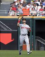CHICAGO - MAY 05:  Andrew Benintendi #16 of the Boston Red Sox fields against the Chicago White Sox on May 5, 2019 at Guaranteed Rate Field in Chicago, Illinois.  (Photo by Ron Vesely)  Subject:  Andrew Benintendi