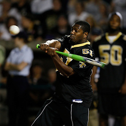 Apr 28, 2010; Metairie, LA, USA; Jonathan Vilma (51) at bat during the Heath Evans Foundation charity softball featuring teammates of the Super Bowl XLIV Champion New Orleans Saints at Zephyrs Field.  Mandatory Credit: Derick E. Hingle-US-PRESSWIRE.