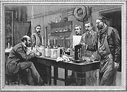 Physics research laboratory at the Sorbonne, Paris. Engraving, 1895.