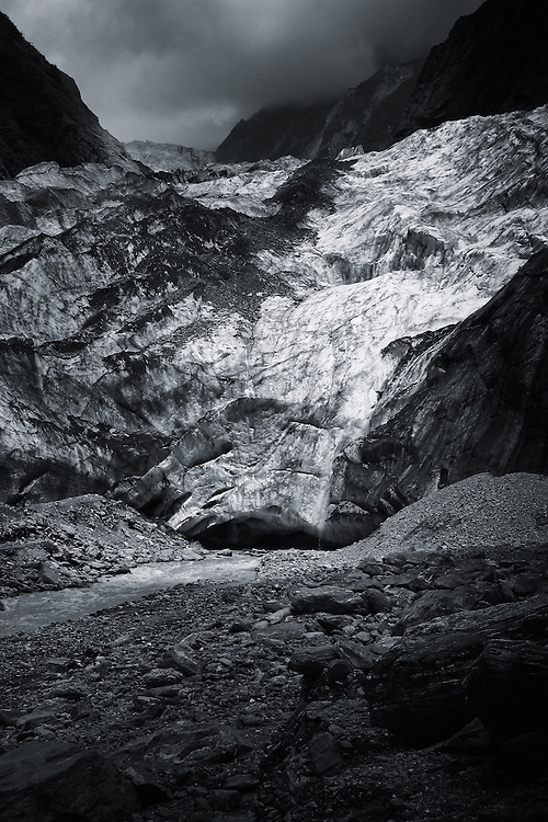 The snout of the Franz Josef glacier on the South Island, New Zealand.