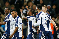 Saido Berahino of West Brom (C) celebrates scoring a goal to make it 2-0 - Photo mandatory by-line: Rogan Thomson/JMP - 07966 386802 - 11/02/2015 - SPORT - FOOTBALL - West Bromwich, England - The Hawthorns - West Bromwich Albion v Swansea City - Barclays Premier League.