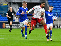 Football - 2020 / 2021 Sky Bet Championship - Cardiff City vs Middlesbrough - Cardiff City Stadium<br /> <br /> Chuba Akpom of Middlesbrough on the attack between Joel Bagan of Cardiff City & \q6\<br /> in a match played without fans<br /> <br /> COLORSPORT