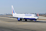 Israel, Ben-Gurion international Airport Transaero Boeing 737 passenger jet ready for takeoff