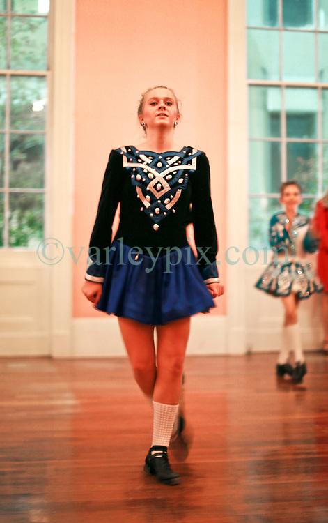 08 November 2014. New Orleans, Louisiana. <br />  2014 International Irish Famine Commemoration, Gallier Hall. <br /> Muggivan Irish dancers perform at the event.<br /> Photo; Charlie Varley/varleypix.com