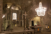 An interior of St. Kingas Chapel, a subterranean church 1km beneath ground in Wieliczka Salt Mine, on 24th September 2019, in Wieliczka, Krakow, Malopolska, Poland.