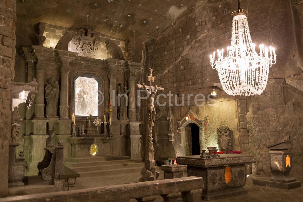 An interior of St. Kingas Chapel, a subterranean church 1km beneath ground in Wieliczka Salt Mine, on 24th September 2019, in Wieliczka, Krakow, Malopolska, Poland.