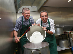 Pictured: Scottish Liberal Democrat leader Willie Rennie tried his hand at jam making with Lib Dem campaign manager Alex Cole Hamilton to highlight the Brexit threat to the agricultural sector on a visit to West Craigie Farm in Queensferry.<br /> <br /> © Dave Johnston / EEm