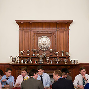"""Pupils dine at a boarding house at Rugby School in central England, March 18, 2015.  The public school, founded in 1567 was amongst the first """"Public"""" schools in England. The school is known as the home of rugby. Local legend  states that in 1823 pupil William Webb Ellis first ran with the ball inventing the game of rugby football which took its name from the school. In 2015 20 countries will compete in the Rugby World Cup which is hosted by England REUTERS/Neil Hall"""