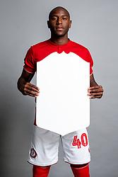 Benik Afobe holds a FIFA Ultimate Team Board on the Bristol City squad photo day - Rogan/JMP - 28/08/2019 - FOOTBALL - Ashton Gate Stadium - Bristol, England.