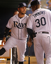 April 13, 2018 - St. Petersburg, Florida, U.S. - JIM DAMASKE   |   Times.Rays new player Johnny Field talks with 1st base coach Ozzie Timmons in the dugout during the Rays game against the Phillies at Tropicana Field Friday night 4/13/2018. He did not play. (Credit Image: © Jim Damaske/Tampa Bay Times via ZUMA Wire)