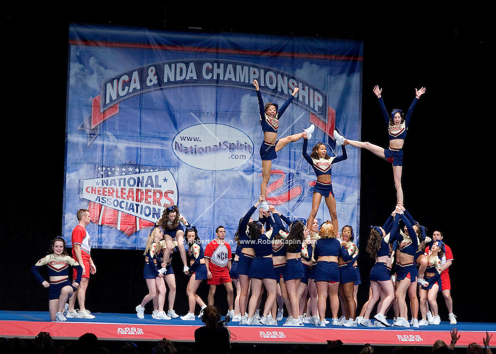 The Power Cheer Toronto Cobras compete in the NCA/NDA U.S. Championship held at the Hammerstein Ballroom Sat. March 10, 2007. Rising popularity in the sport of cheerleading has brought a significant increase in cheerleading related accidents and injuries.