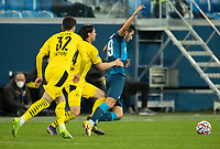 SAINT PETERSBURG, RUSSIA - DECEMBER 08: Aleksei Sutormin of Zenit St. Petersburg is pulled back by Nico Schulz of Borussia Dortmund during the UEFA Champions League Group F stage match between Zenit St. Petersburg and Borussia Dortmund at Gazprom Arena on December 8, 2020 in Saint Petersburg, Russia. (Photo by MB Media)