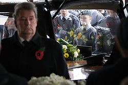 © Licensed to London News Pictures . 11/11/2012 . Lytham Park Crematorium , UK . Hundreds of strangers at the funeral of World War Two veteran Harold Jellicoe Percival today (Monday 11th November 2013) . The funeral is timed to coincide with the First World War armistice , the 95th anniversary of which is at 11am today (Monday 11th November 2013) . The RAF Bomber Command veteran died in his sleep on 25th October 2013 , aged 99 , at Alistre Lodge Nursing Home in St Annes , Lancashire , with no immediate family . Photo credit : Joel Goodman/LNP