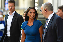 © Licensed to London News Pictures. 17/09/2019. LONDON, UK.  Anti-Brexit campaigner Gina Miller (C) leaves the Supreme Court as judges begin a three-day hearing to decide whether or not the decision of Prime Minister Boris Johnson to prorogue Parliament is unlawful.  Photo credit: Stephen Chung/LNP