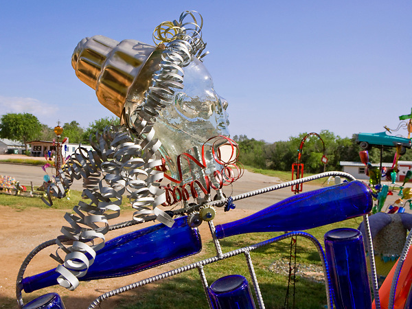 Stock photo of a glass bottle sculpture at a farm in the Texas Hill Country