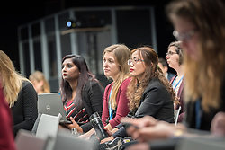 4 December 2019, Madrid, Spain: Lutheran World Federation delegates Stephanie Joy Abnasan from the Philippines (right), Erika Rodning from Canada (centre) and LWf Secretary for Youth Pranita Biswasi (left) attend the meeting of the Youth Non-governmental organizations (YOUNGO) at COP25 in Madrid.