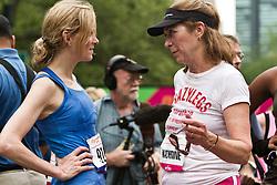 NYRR Mini 10K road race (40th year); Katerine Switzer, Mary Wittenberg