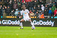 Tammy Abraham of Swansea City in action. Premier league match, Swansea city v Leicester city at the Liberty Stadium in Swansea, South Wales on Saturday 21st October 2017.<br /> pic by Aled Llywelyn, Andrew Orchard sports photography.