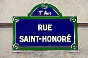 Rue Saint-Honoré street sign, Paris, France
