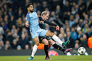 Celtic's Gary Mackay-Steven (16) gets the shot on goal during the Champions League match between Manchester City and Celtic at the Etihad Stadium, Manchester, England on 6 December 2016. Photo by Craig Galloway.