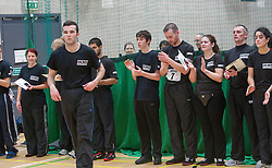 P1 students receives his certificate from Franklyn Hartkamp at the Institute Of Krav Maga Scotland grading today at Stirling.<br /> ©Michael Schofield.