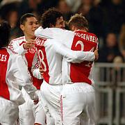 NLD/Amsterdam/20060222 - Voetbal, Champions League, Ajax - FC Internazionale, blijdschap bij Klaas Jan Huntelaar na zijn doelpunt