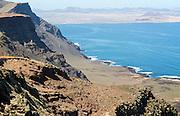 Steep coastal cliffs Risco de Famara looking south, Lanzarote, Canary Islands, Spain