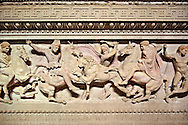 Greek relief sculpture of a lion hunt  on Alexander The Great ( Alexander III of Macedon )4th Cent BC. Sarcophagus calved from Pentelic Marble from the Royal Necropolis of Sidon, Chamber no.III, Lebanon. Istanbul Archaeological Museum Inv. 370T Cat. Mendel 68 .<br /> <br /> If you prefer to buy from our ALAMY STOCK LIBRARY page at https://www.alamy.com/portfolio/paul-williams-funkystock/greco-roman-sculptures.html- Type -    Istanbul    - into LOWER SEARCH WITHIN GALLERY box - Refine search by adding a subject, place, background colour, museum etc.<br /> <br /> Visit our CLASSICAL WORLD HISTORIC SITES PHOTO COLLECTIONS for more photos to download or buy as wall art prints https://funkystock.photoshelter.com/gallery-collection/The-Romans-Art-Artefacts-Antiquities-Historic-Sites-Pictures-Images/C0000r2uLJJo9_s0c