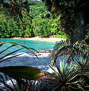Sandy wooded cove near Sunset Beach hotel, Mahe, Seychelles
