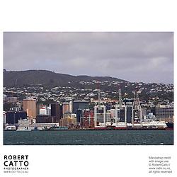 Cranes at Centreport seen from Lambton Harbour, Wellington, New Zealand.<br />
