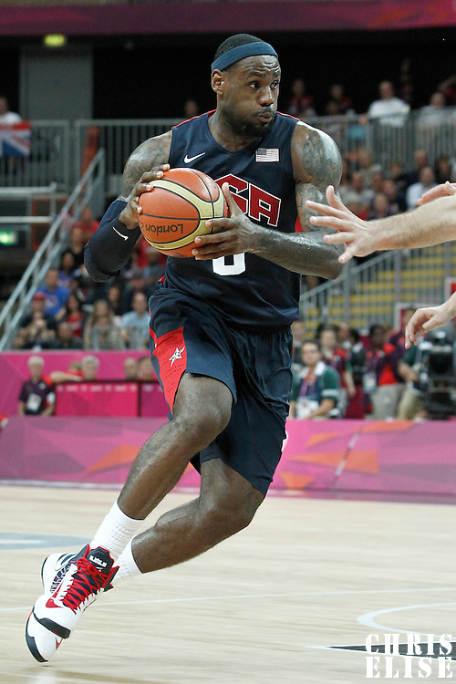 04 August 2012: LeBron James goes to the basket during 99-94 Team USA victory over Team Lithuania, during the men's basketball preliminary, at the Basketball Arena, in London, Great Britain.