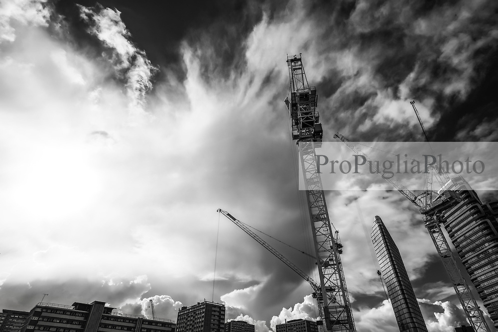 Construction site at 250 City Road. Cranes have become a symbol of London skyline, a costant presence that is evolving London cityscape.