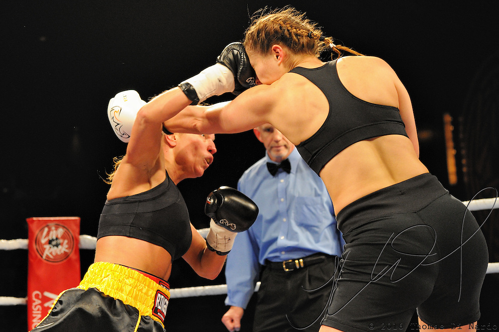 April 3, 2010 - Rumble at the Rock VII - Richmond, BC, Canada - Wendy Roy (North Vancouver, BC) v. Sarah Marshall (Kamloops, BC) - Lightweight Boxing - Roy, with a record of 0-7-0 squared off against Marshall, in her professional debut, for four rounds of boxing. Marshall made a valiant effort but could not overcome Roy's power. Roy won by majority decision. The match was a West Coast Promotions feature held at the River Rock Casino in Richmond, BC, Canada.
