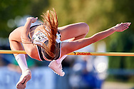 Poland, Radom - 2020 September 12: Weronika Kazmierczak (RKS Lodz) from Poland competes in women's high jump final while 74. PZLA Athletics Polish Championships U20 - Radom 2020 - Day#2 during pandemic COVID-19 at MOSiR Stadium on September 12, 2020 in Radom, Poland.<br /> <br /> Mandatory credit:<br /> Photo by © Adam Nurkiewicz<br /> <br /> <br /> Adam Nurkiewicz declares that he has no rights to the image of people at the photographs of his authorship.<br /> <br /> Picture also available in RAW (NEF) or TIFF format on special request.<br /> <br /> Any editorial, commercial or promotional use requires written permission from the author of image. Single publication only for informational, journalistic or documentary purposes inside a newspaper, magazine or book (digital versions allowed). One edition on the territory of one country. Resale is forbidden.<br /> <br /> Image can be used in the press when the method of use and the signature does not hurt people on the picture.