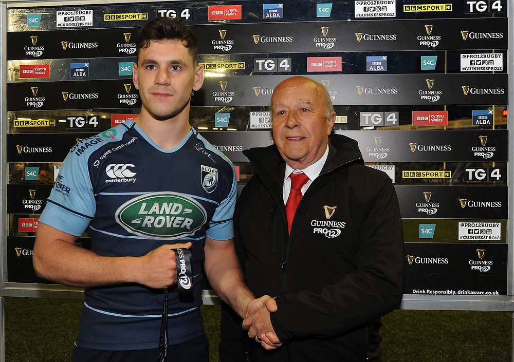Cardiff Blues' Tomos Williams is presented the man of the match award by Ken Robjohn on behalf of Guinness <br /> <br /> Photographer Ashley Crowden/CameraSport<br /> <br /> Guinness PRO12 Round 21 -  Cardiff Blues and Zebre Rugby - Friday April 28 2017 - Cardiff Arms Park - Cardiff<br /> <br /> World Copyright © 2017 CameraSport. All rights reserved. 43 Linden Ave. Countesthorpe. Leicester. England. LE8 5PG - Tel: +44 (0) 116 277 4147 - admin@camerasport.com - www.camerasport.com