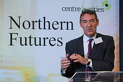 © Licensed to London News Pictures . 06/11/2014 . Leeds , UK . Economist JIM O'NEILL of the City Growth Commission , addresses the Northern Futures Summit in Leeds this morning (Thursday 6th November 2014) .  . Photo credit : Joel Goodman/LNP