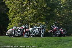"Restored Harley-Davidson Panheads at the annual ""Founders Picnic"" with the Flying Eagles MC (founded 1950). Sykesville, MD, USA. August 16, 2015.  Photography ©2015 Michael Lichter."