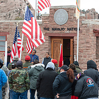 Navajo Nation President Russell Begaye, meets with the veterans who walked in unity to the Navajo Nation Office of the President, in Window Rock on Wednesday.