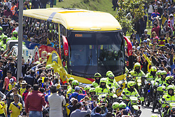 July 5, 2018 - The bus that transports the players of the Colombia team through the streets of the city of Bogotà (Credit Image: © Daniel AndréS GarzóN Heraz via ZUMA Wire)