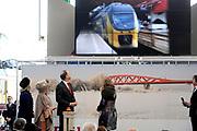 Koningin Beatrix opent nieuwe spoorlijn Hanzelijn op station Lelystad.De koningin is de eerste officiele reiziger in haar eigen koninklijke trein. Aan het spoortraject, dat de Randstad met het noorden van Nederland verbindt, is 6 jaar lang gewerkt. ///// Queen Beatrix opens the new railway line (Hanzelijn) in Lelystad.The Queen is the first official passenger in her own royal train. The railway line connects  the Randstad to the north of the Netherlands.<br /> <br /> Op de foto/ On the photo:  Directeur Marion Gout van ProRail, koningin Beatrix, directeur Bert Meerstadt van NS en minister Melanie Schultz van Hagen van Instrastructuur en Milieu tijdens de opening van de nieuwe Hanzelijn. //// Director Marion Gout ProRail, Queen Beatrix, director Bert Meerstadt NS and Minister Melanie Schultz van Hagen of Instrastructuur and Environment at the opening of the new Hanzelijn.