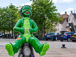 Pictured: Oor Wullie Bucket Art Trail. Leith, Edinburgh, Scotland, United Kingdom, 17 June 2019. Pictured: Oor Wullie Bucket Art Trail. Leith, Edinburgh, Scotland, United Kingdom, 17 June 2019. An art trail of 200 Oor Wullie sculptures have appeared in Scottish cities overnight in a mass arts event that lasts until August 30th. The sculptures will be auctioned to raise money for Scotland's children's hospital charities. There are 5 in the Leith area, and 60 in Edinburgh altogether. Willie from the Black Lagoon by Ruairidh Brunton on The Shore.<br /> <br /> Sally Anderson | EdinburghElitemedia.co.uk