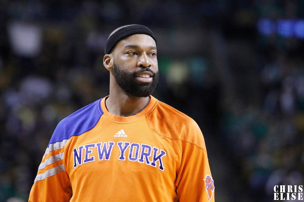 04 March 2012: New York Knicks point guard Baron Davis (85) is seen at halftime during the Boston Celtics 115-111 (OT) victory over the New York Knicks at the TD Garden, Boston, Massachusetts, USA.