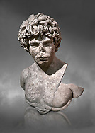Roman statue of Antinous. Marble. Perge. 2nd century AD. Inv no . Antalya Archaeology Museum; Turkey.  Against a grey background .<br /> <br /> If you prefer to buy from our ALAMY STOCK LIBRARY page at https://www.alamy.com/portfolio/paul-williams-funkystock/greco-roman-sculptures.html . Type -    Antalya     - into LOWER SEARCH WITHIN GALLERY box - Refine search by adding a subject, place, background colour, museum etc.<br /> <br /> Visit our ROMAN WORLD PHOTO COLLECTIONS for more photos to download or buy as wall art prints https://funkystock.photoshelter.com/gallery-collection/The-Romans-Art-Artefacts-Antiquities-Historic-Sites-Pictures-Images/C0000r2uLJJo9_s0