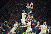 Twickenham, United Kingdom.  Yoann MAESTRI, collects the line out ball during the RBS. Six Nations : England   vs France  at the  RFU Stadium, Twickenham, England, <br /> <br /> Saturday  04/02/2017<br /> <br /> [Mandatory Credit; Peter Spurrier/Intersport-images]
