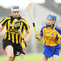 31 August 2008; Roisin Byrne, Kilkenny, in action against Carina Rosingrave, Clare. All-Ireland Minor A Championship Final, Clare v Kilkenny, Geraldine Park, Athy, Co. Kildare. Picture credit: Paul Mohan / SPORTSFILE *** NO REPRODUCTION FEE ***